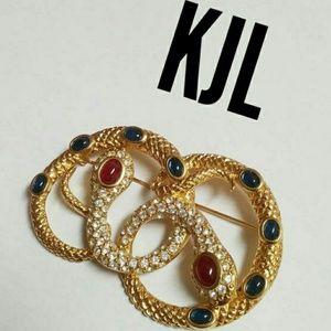 Vintage Kenneth Jay Lane KJL coiled snake brooch